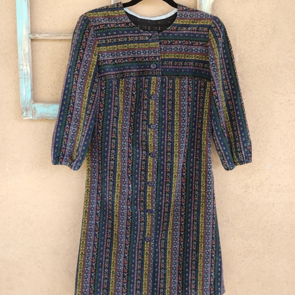 Vintage 1960s Corduroy Dress Shirtdress Sz S B34